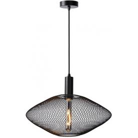 Stylowa Lampa wisząca ażurowa geometryczna Mesh 45 czarna Lucide do kuchni, jadalni i salonu.