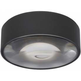 Plafon zewnętrzny okrągły Rayen LED czarny Lucide na taras i przed drzwi.