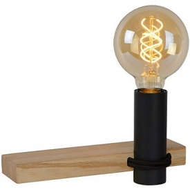 Tanner black industrial wooden wall lamp Lucide