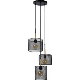 Stylowa Lampa wisząca ażurowa potrójna Baskett 46 czarna Lucide do kuchni, jadalni i salonu.