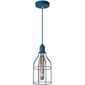 Stylowa Lampa wisząca druciana młodzieżowa Paulien 15 niebieska Lucide do kuchni, jadalni i salonu.