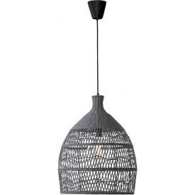 Stylowa Lampa wisząca rattanowa boho Tanic 42 szara do kuchni, jadalni i salonu.