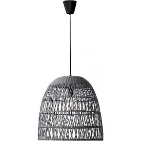 Stylowa Lampa wisząca rattanowa boho Tanic 46 szara do kuchni, jadalni i salonu.