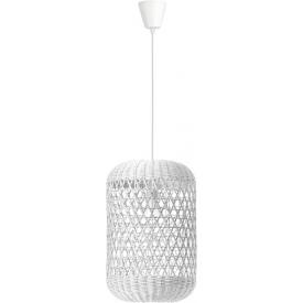 Stylowa Lampa rattanowa wisząca boho Penida Long 24 biała do kuchni, jadalni i salonu.