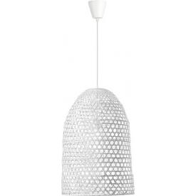 Stylowa Lampa rattanowa wisząca boho Penida 40 biała do kuchni, jadalni i salonu.