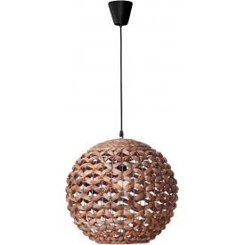 Stylowa Lampa rattanowa wisząca kula Denpasar 40 brązowa do kuchni, jadalni i salonu.