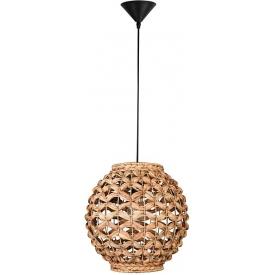 Stylowa Lampa rattanowa wisząca kula Denpasar 30 do kuchni, jadalni i salonu.