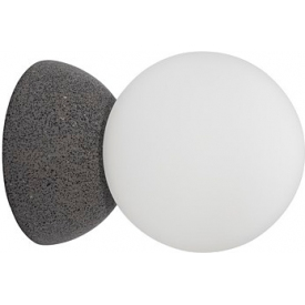 Stylowy Kinkiet betonowo-szklany kula Noon szaro-biały do sypialni i salonu.