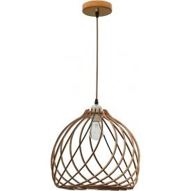 Ażurowa Lampa drewniana wisząca Wires 35 jasne drewno w stylu skandynawskim