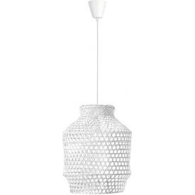 Skandynawska Lampa bambusowa wisząca boho Coppo 35 biała do salonu i sypialni
