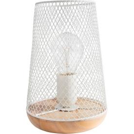 Skandynawska Lampa ażurowa stołowa Scone biało-drewniana do sypialni i salonu