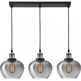 Stylowa Lampa wisząca szklana potrójna Tamigo 80 czarna nad stół