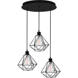 Dekoracyjna Lampa wisząca druciana potrójna Trad 30 czarna do salonu, kuchni i sypialni