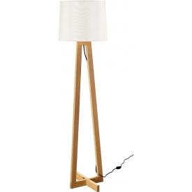 Stylowa Lampa podłogowa skandynawska z abażurem Fenil 31 biało-drewniana do salonu i sypialni