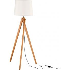 Stylowa Lampa podłogowa trójnóg skandynawski Loko 45 biało-drewniana do salonu i sypialni