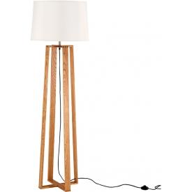 Stylowa Lampa podłogowa skandynawska z abażurem Fenil 38 biało-drewniana do salonu i sypialni