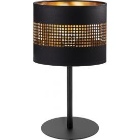 Stylowa Lampa stołowa z abażurem Tago czarno-złota Tk Lighting do salonu i sypialni