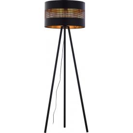 Stylowa Lampa podłogowa trójnóg ażurowy Tago czarno-złota Tk Lighting do salonu i sypialni
