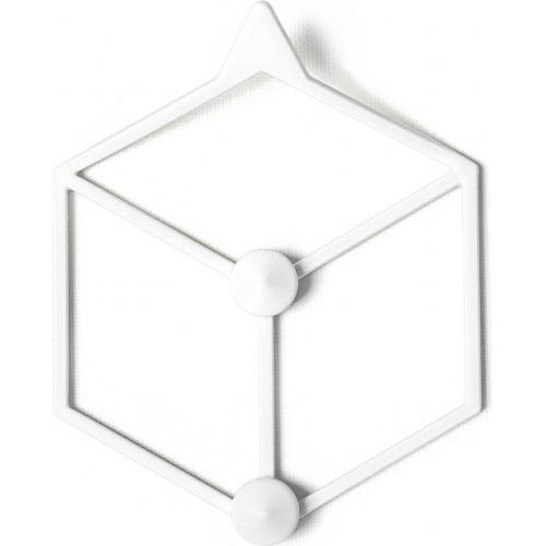 Stylowy Wieszak ścienny metalowy Stiga XS biały Polyhedra na ubrania do przedpokoju i poczekalni.