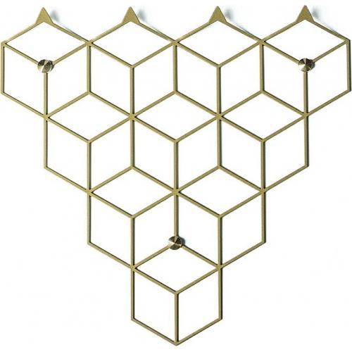 Stylowy Wieszak ścienny metalowy Stiga S złoty Polyhedra na ubrania do przedpokoju i poczekalni.