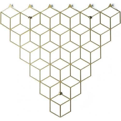 Stylowy Wieszak ścienny metalowy Stiga M złoty Polyhedra na ubrania do przedpokoju i poczekalni.