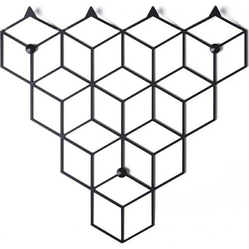 Stiga S black metal wall hook Polyhedra