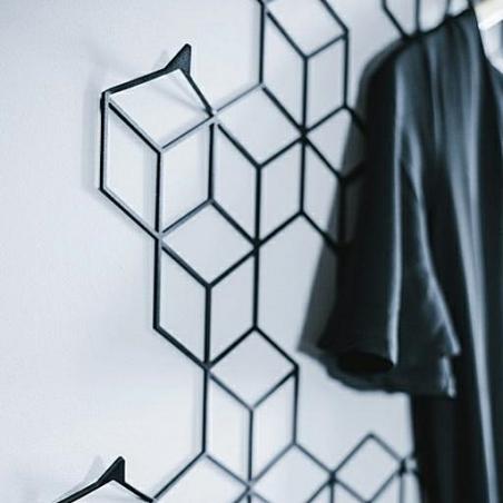 Stiga L black metal wall hook Polyhedra