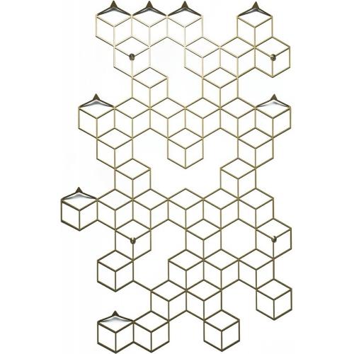 Stylowy Wieszak ścienny metalowy Stiga L złoty Polyhedra na ubrania do przedpokoju i poczekalni.