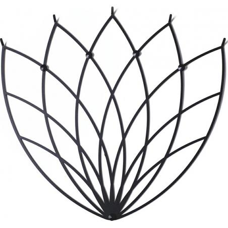 Stylowy Wieszak metalowy ścienny Lotos M czarny Polyhedra na ubrania do przedpokoju i poczekalni.