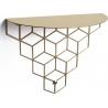 Dekoracyjna Półka ścienna metalowa Stiga M złota Polyhedra do salonu, sypialni i przedpokoju.