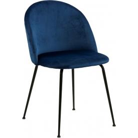 Stylowe i wygodne Krzesło tapicerowane Louise granatowe Actona do salonu.