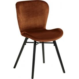 Stylowe i wygodne Krzesło welurowe Batilda VIC miedziano-czarne Actona do salonu.