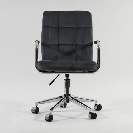 Q022 grey velvet quilted office chair Signal