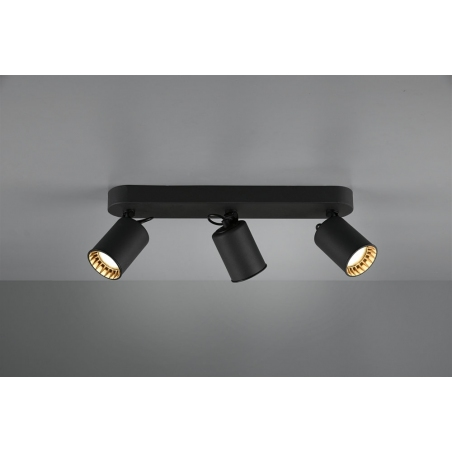 Pago III black ceiling spotlight with 3 lights Trio
