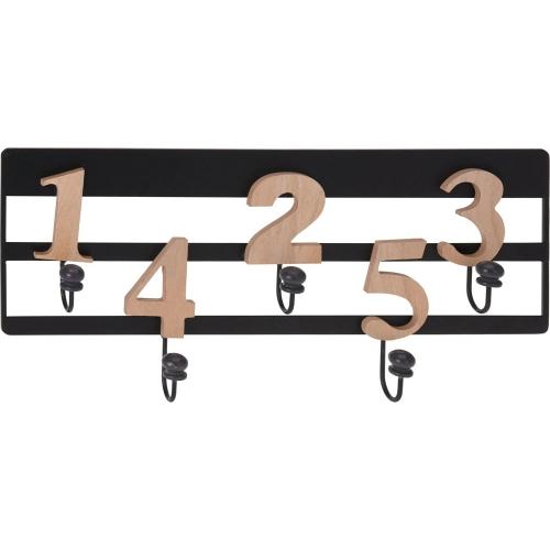 Digits black&wood decorative wall hook Intesi