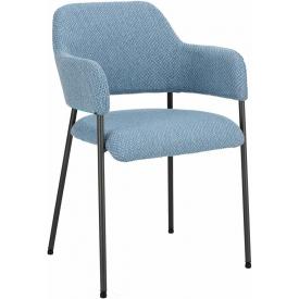 Wygodne Krzesło fotelowe tapicerowane Gato niebieskie Intesi do kuchni i salonu.
