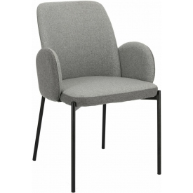 Wygodne Krzesło tapicerowane fotelowe Perro szare Maduu Studio do kuchni i salonu.