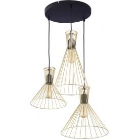 Stylowa Lampa wisząca druciana potrójna Sahara 50 złota TK Lighting nad stół.
