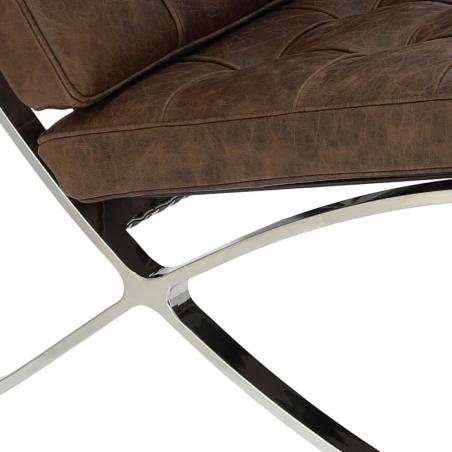 Designerski Fotel skórzany Barcelon Vintage Ciemny brąz D2.Design do salonu i sypialni.