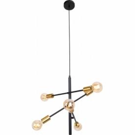"""Stylowa Lampa loft wiszące """"żarówki"""" Todi 60 złoto-czarna MaxLight nad stół."""