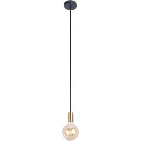 """Punktowa Lampa wisząca """"żarówka"""" na kablu Todi złota MaxLight nad wyspę kuchenną."""