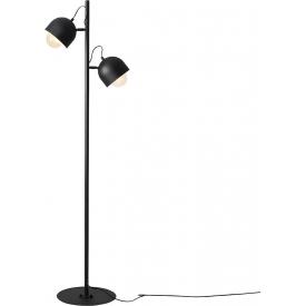 Stylowa Lampa podłogowa 2 punktowa Beryl Black czarna Aldex do salonu i sypialni