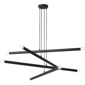 Stylowa Lampa designerska wiszące tuby poziome Tubo Black VIII czarna Aldex nad stół w salonie i jadalni