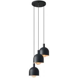 Stylowa Lampa wisząca potrójna industrialna Beryl Black 35 czarna Aldex nad stół w salonie i jadalni
