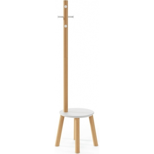 Pillar white wooden coat stand with...