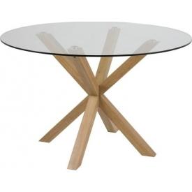 Skandynawski Stół okrągły szklany Heaven 119 przeźroczysty Actona do salonu, jadalni i kuchni.
