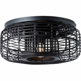 Crosstown 45 dark wood&black boho bamboo ceiling lamp Brilliant