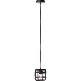 Crosstown 16 dark wood&black bamboo pendant lamp Brilliant