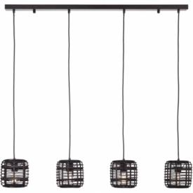 Crosstown IV dark wood&black bamboo pendant lamp Brilliant