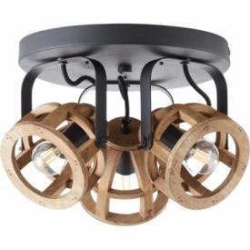 Matrix III black&natural wooden ceiling spotlight Brilliant
